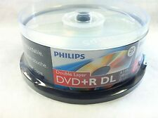 25 PHILIPS DVD+R Dual DL Double Layer 8.5GB 8X Recordable Media Disc Cake Box