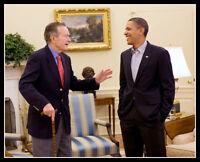 Barack Obama George H W Bush Photo 8X10 - US Presidents - Buy Any 2 Get 1 FREE