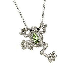 Little Frog Pendant Necklace Green Crystals Rhodium Plated Gift Boxed