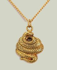 "Chinese Year of the Snake Zodiac Pendant  24K Gold Plated 18"" Gold Plated Chain"