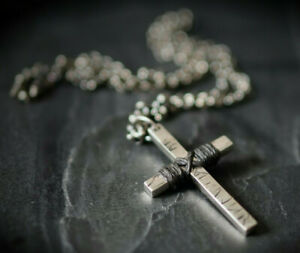 DISTRESSED 925 SOLID STERLING SILVER CRUCIFIX CROSS CHAIN PENDANT & NECKLACE
