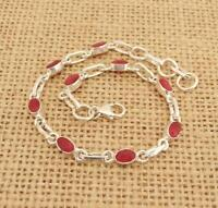 Dainty Cut Indian Ruby 925 Silver Bracelet Jewellery