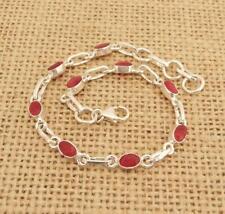 Dainty Cut Indian Ruby 925 Silver Bracelet Jewellery