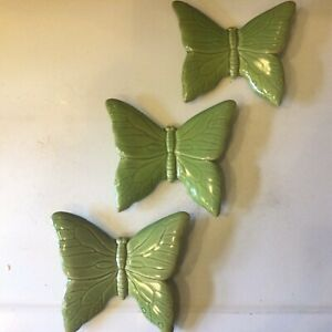 3x Gisela Graham Large Green Ceramic Butterfly Wall Ornament 15x13cm New