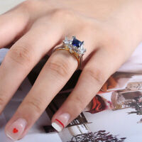 925 Silver + Gold Elegant Blue Sapphire Rings Two Tone Wedding Jewelry Size 6-10