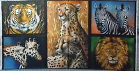 Animals Fabric Panel Lions Zebras Cheetahs Digital Quilting 22x44 Robert Kaufman