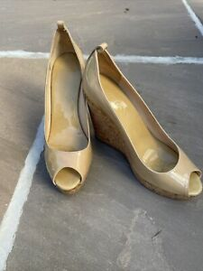 Ladies Jimmy Choo High Wedges Size 39.5 Cream Patent Leather  With Dust Bag