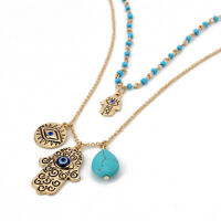 Vintage Blue Crystal Hamsa Hand Pendant Necklace Evil Eye Hand of Fatima Gift