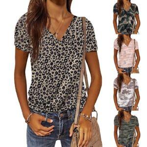 Summer Women Casual Short Sleeve T Shirt Leopard V Neck Tops Loose Blouse Tunic