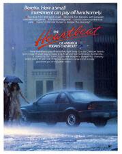 1989 CHEVROLET Beretta Vintage Original Print AD - Blue car photo woman on rain