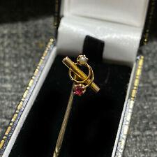 Art Nouveau 9ct/9k 375 Rose Gold Ruby & pearl,scroll Stick,tie,cravat,lapel pin