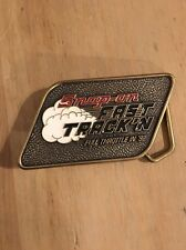 MENS SNAP ON FAST TRACK'N FULL THROTTLE IN '92 BELT BUCKLE SOLID BRASS  USA