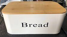 Large Vintage Style Metal Bread Box Bin Wooden Lid Retro Farmhouse GLOBAL SHIP!