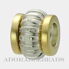 Authentic Chamilia Silver & 14k Gold Edges Bead KD-3