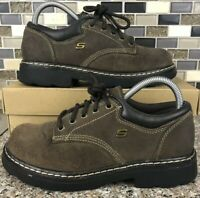 SKECHERS Parties Mate Brown Leather Lace Up Oxford Shoes 45120 Size 7.5 Women's
