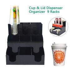 Coffee Tea Stand Station Condiment Organizer Beverage Cup Nine Grid Lid Dispense