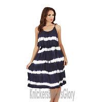 Ladies Tie Dye Print Short Strappy/Summer/Beach Dress Blue/Pink/Purple Size 8-22