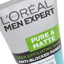 3 x L'Oreal Men Expert Pure & Matte Deep Exfoliating Face Wash 150ml each