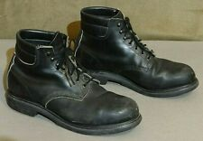 RED WING BLACK LEATHER BOOTS - 11.5 3E STEEL TOE SUPER SOLE VTG USA QUALITY !!