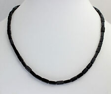 Ónix Collar de piedras preciosas, 45cm largos, bloque, negro, collar, joya,
