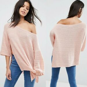 New ex ASOS Boxy Sweater Jumper with Off Shoulder in Blush RRP £25 Sizes 6-14
