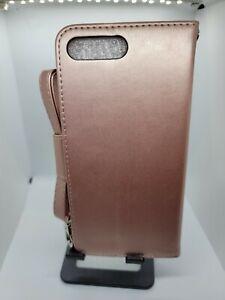 ARAE iPhone 7Plus/8Plus Rose Gold PU Leather Card Slot Wallet Folio Case