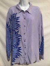 Bob Mackie 2X Periwinkle Purple Blue Patter Silk Button Down Shirt Top