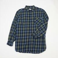 CARHARTT Flannel  Button Front Shirt Long Sleeve Navy Plaid Mens XL