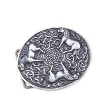 Vintage Silver Alloy Round Irish Celtic Knot Animals Horses Belt Buckle