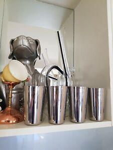 4x Milkshake Soda Silver Aluminum Cups
