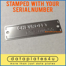 STAMPED CHEVROLET DATA PLATE ID TAG CARS TRUCKS CORVETTE DATAPLATE -WITH HOLES-