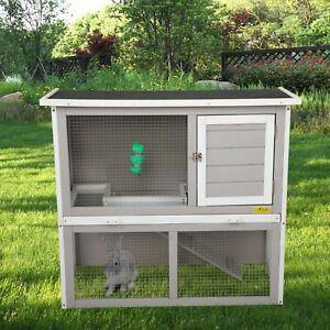 Large Wooden Rabbit Hutch Lockable Chicken Coop Hen House Poultry Cage Habitat