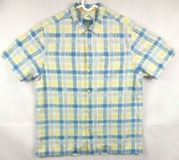 TOMMY BAHAMA Mens Island Modern Fit plaid Sleeve Shirt Blue and Green Size L