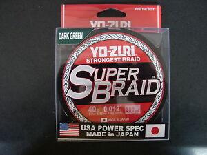 YO-ZURI SUPERBRAID Dark Green Fishing Line 40lb 300yd R1268-DG Super Braid