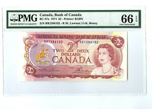 """1974 $2 BANK OF CANADA PMG 66 EPQ BC-47a BANKNOTE TWO DOLLAR PREFIX """" RR """""""