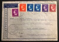 1940 Rotterdam Netherlands Airmail Colorful Cover To Wilmington USA