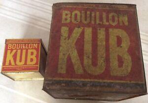 2 Boîtes Bouillon Kub anciennes en fer + 1 offerte