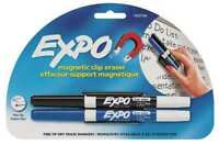 EXPO Magnetic Clip  DRY ERASE MARKERS, Set of 2 Fine  Black/Blue Back To SCHOOL
