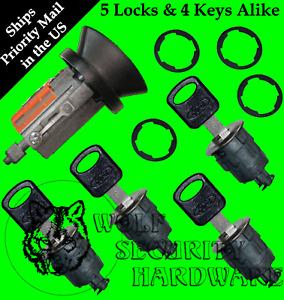 Ford Econoline Van Ignition & 4 Chrome Door Lock Cylinder W/4 OEM Ford Logo Keys