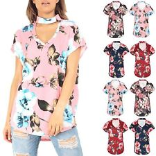 Womens Ladies Floral Rose Choker Neck Lagenlook Curved Hem Loose Fit T Shirt Top