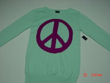 Nwt Girls Faded Glory Sweater Light Mint Green Dark Pink Peace Sign Trendy Nice