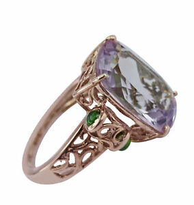 Casual Ring with Natural Amethyst 18k Rose Gold 9.201 Ct. Gemstone