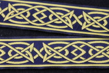 Mittelalterlich Borte - Keltisch II - 33mm - dunkelblau/gelb