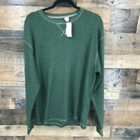 New Red Head Men's Olive Green Waffle Knit Long Sleeve Pullover Shirt Size M