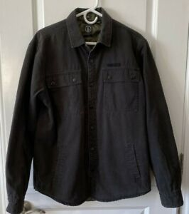 Volcom Men's Black Larkin Quilted Canvas Shirt Jacket Size Large