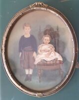 Antique Hand Tinted Photograph of Children, Brother & Sister, in Original Frame