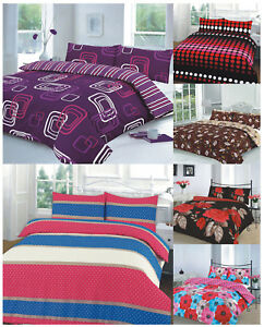 Printed Duvet Cover Set With Pillow Cases King Size Double Super Single Bedding