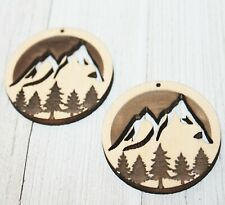 Mountains Trees Engraved Cutout Hanging Earring Earrings Jewelry Blanks Crafts