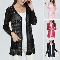 Women Sweet Candy Crochet Knit Top Sweater Cardigan Shirt Long Sleeve Knitwear