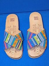 8 M Muk Luks Blue Green Ladies Womens Tapestry Shoes Sandals Flats Helene Wedge